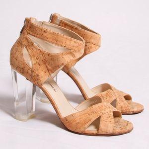 Donald J Pliner Manda Cork Lucite Heel Sandal